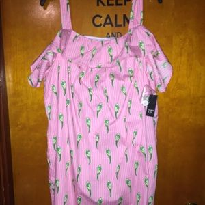 Crown & Ivy Pink Button Parrot Dress with Pockets